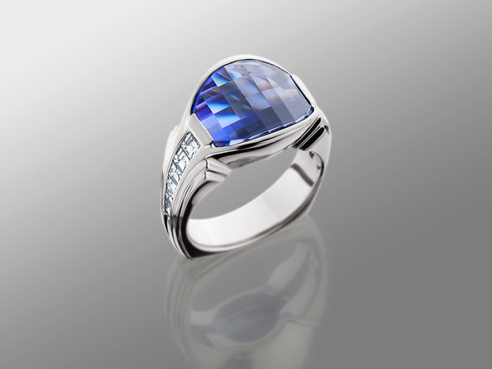 Tanzanite In Platinum Ring With Baguette Diamonds