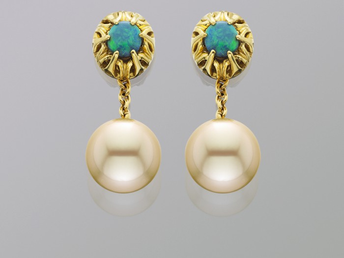 Black opal earrings with South Sea Pearls