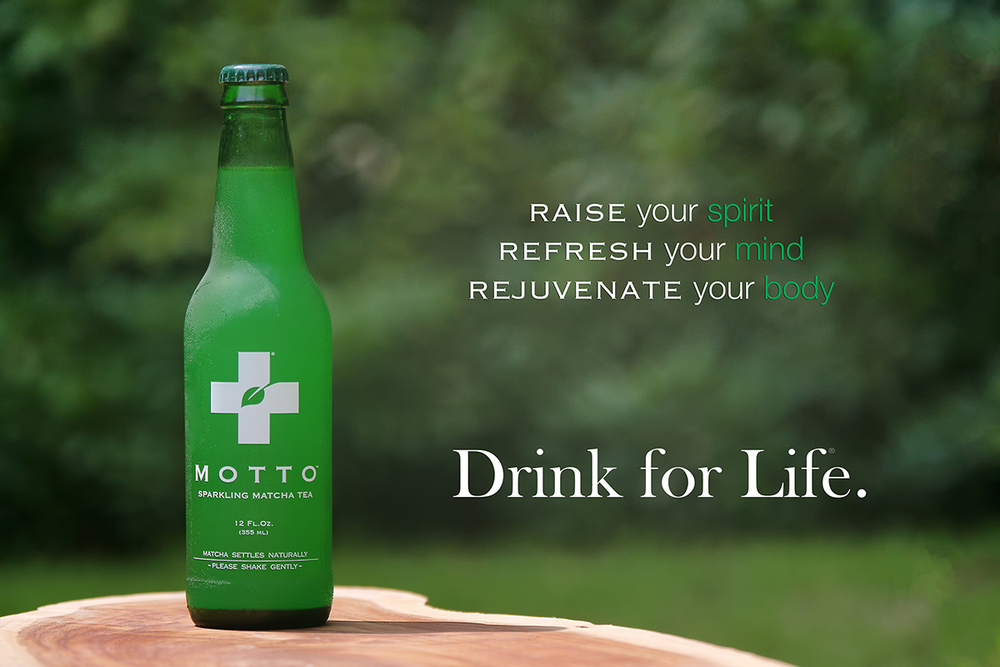 Motto Sparkling Matcha We brew premium matcha tea with fresh, simple ingredients to create a delicious sparkling drink that will make you feel better and think better, naturally.