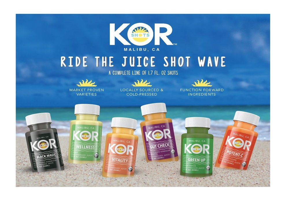 KOR Shots   There were premium juices, then raw coconut water, cold brew coffee, kombucha. Now there are 'shots' – a new, stand alone, fast growing category. Our shots are organic, raw, low sugar and functional. Each KOR shot contains the highest quality ingredients packed into a convenient shot format.