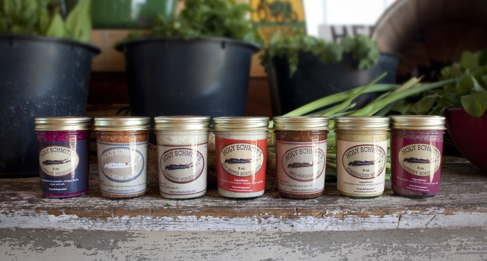 Holy Schmitt's Horseradish   Home grown and homemade at Schmitt Farms in Long Island, Holy Schmitt's Horseradish is fresh, hot, and delicious. Horseradish aids in digestion, supports immune system health and is a powerful antioxidant. H