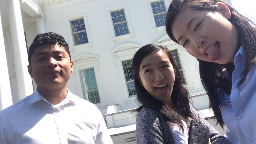 Me and a couple interns in front of the East Wing!