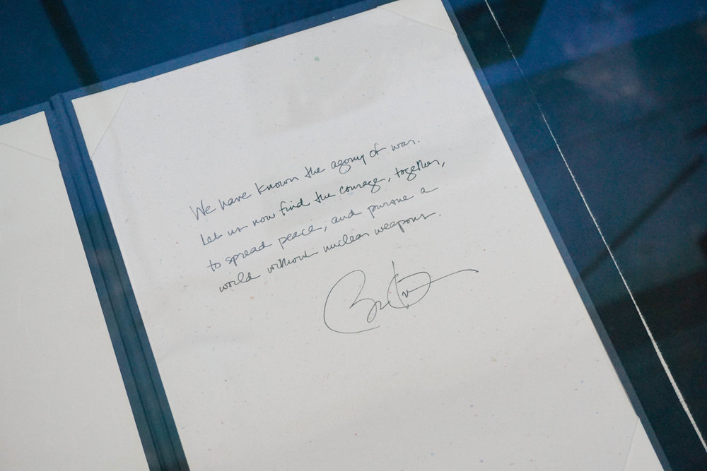 """We have known the agony of war. Let us now find the courage, together, to spread peace, and pursue a world without nuclear weapons."" - Barack Obama.   By the way — flipping through the guestbook at the museum was the coolest! It included notes from figures from Mother Teresa to Jimmy Carter."