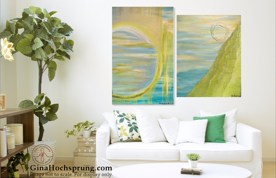 """Seaside Dreams"" [36 x 24 in] &  ""Mountain Seascape"" [28 x 22 in]"