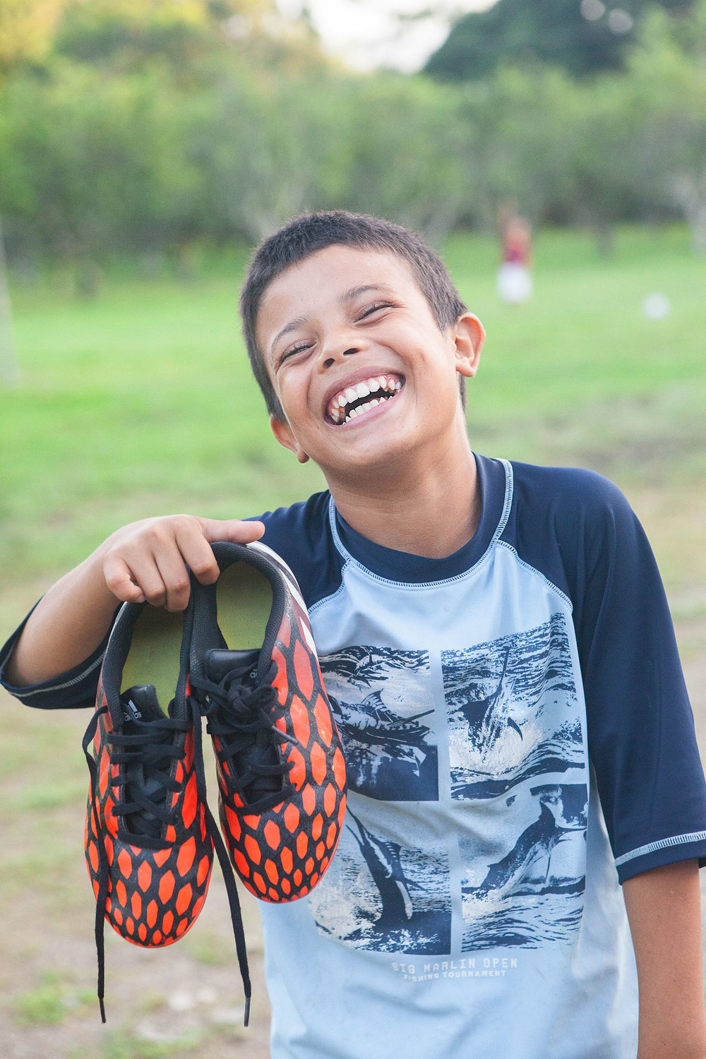 Franklin excited about finally receiving soccer shoes!