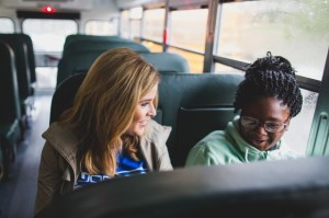Jenna Bush Hager rides with students to Lilla G.Frederick Pilot Middle School in celebration of their adoption of cleaner, safer propane school buses.