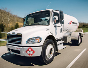 Propane autogas-fueled bobtail propane delivery truck based the S2G chassis by Freightliner Custom Chassis Corp