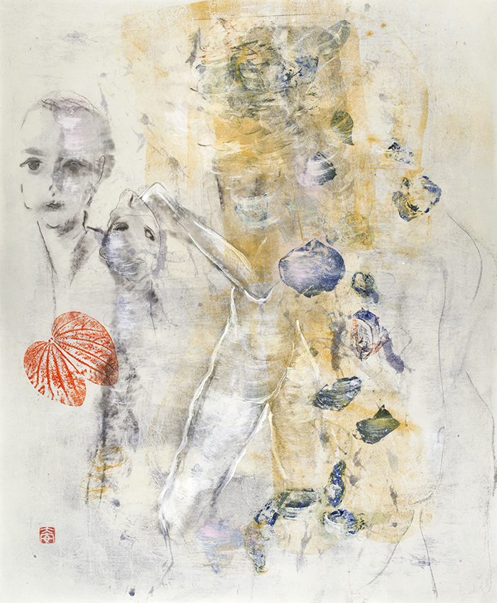 Diane Abt | Cries and Whispers | Monotype/ Solvent Transfer/ Graphite on Kitakata Paper