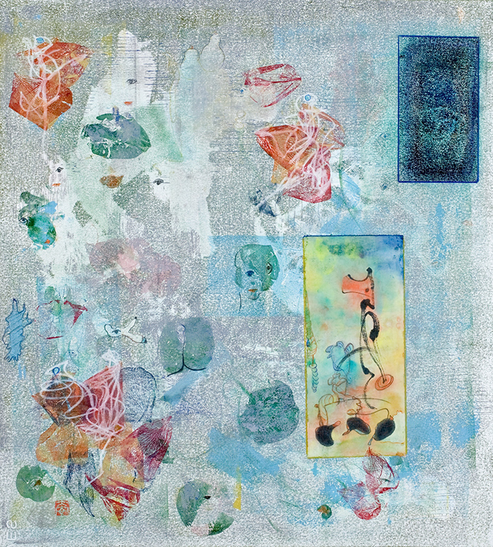 Diane Abt | In My Beginning is My End | Monotype/Collage/Oil pastel/Sumi Ink/Colored Pencil on Rives BFK Paper