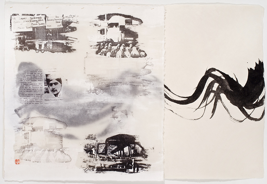 Diane Abt | Malala: One Girl Among Many | Solvent Transfer/ Encaustic/ Sumi Ink/ Thread on Japanese Paper Sewn to Japanese Paper