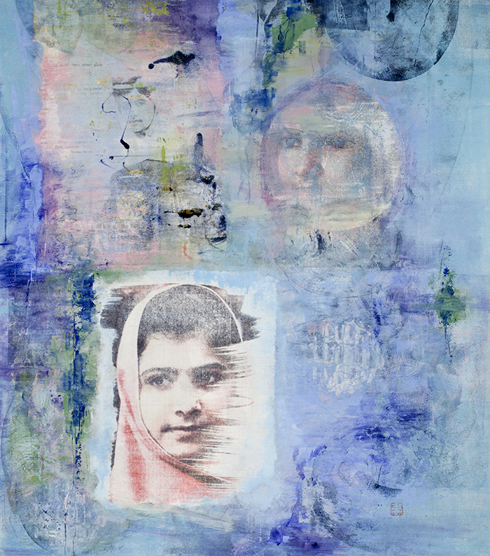 Diane Abt | Malala: The Pink Revolution | Monotype/ Solvent Transfer/ Collage/ Flashe Paint on Japanese Botan Paper