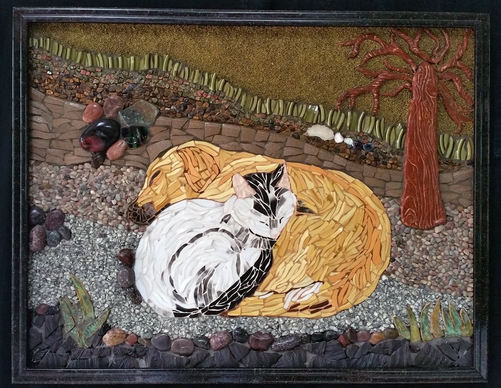 "THIRD PLACE  -  Xuan My Ho, ""Paw Partners"" (mosaic) $2,000"