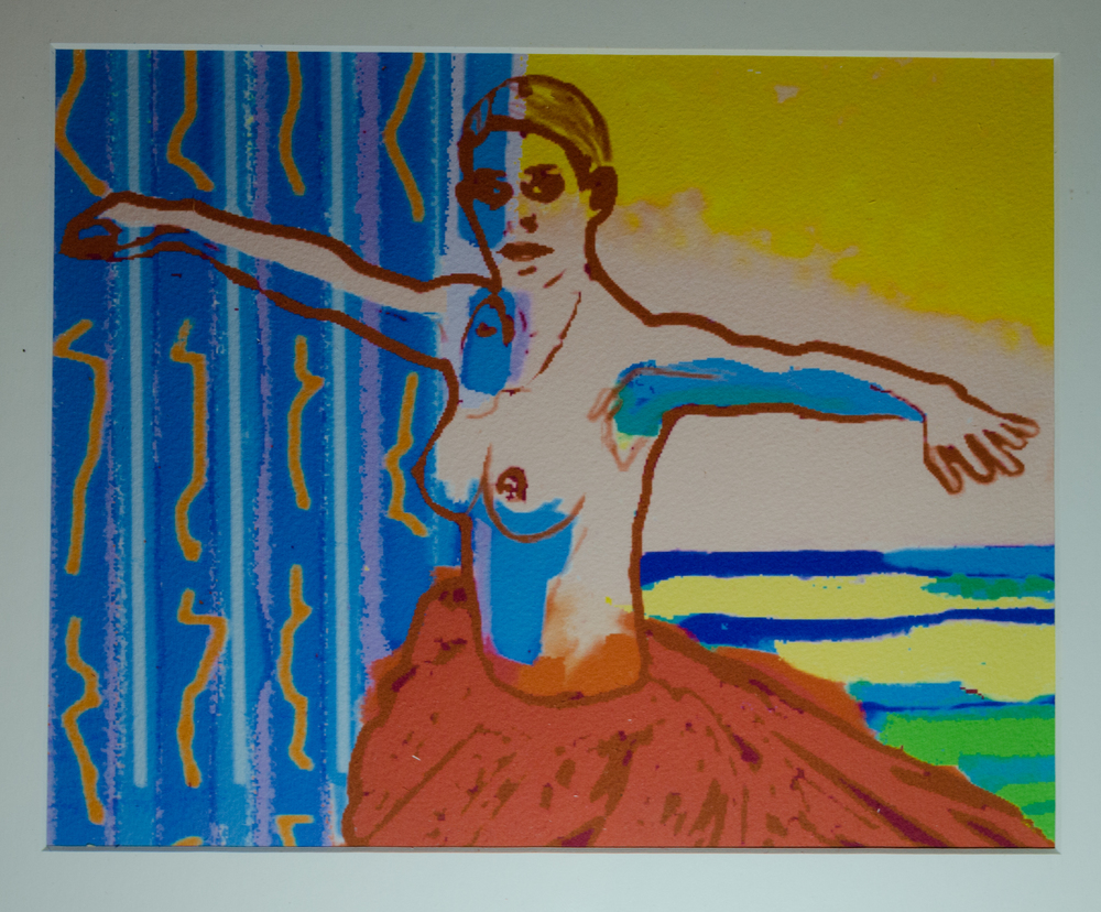 "HONORABLE MENTION - Robert John Hughes, ""Roquebrune (Reserved)"" (computer mediated/ inject on 90lbs. watercolor paper print) $125"