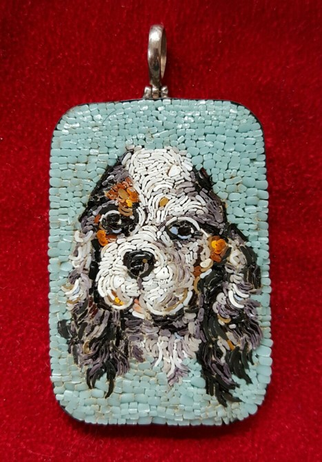 THIRD PLACE - Micro Mosaic Pendant of Spaniel (2015) | Tanya Larin | Glass, silver, travertine powder | 2x3"