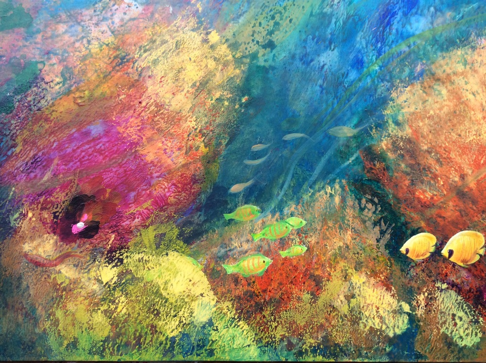 HONORABLE MENTION - Underwater Impressions (2016) | Alsier Angeles | Oil and acrylic on canvas | 36x24"