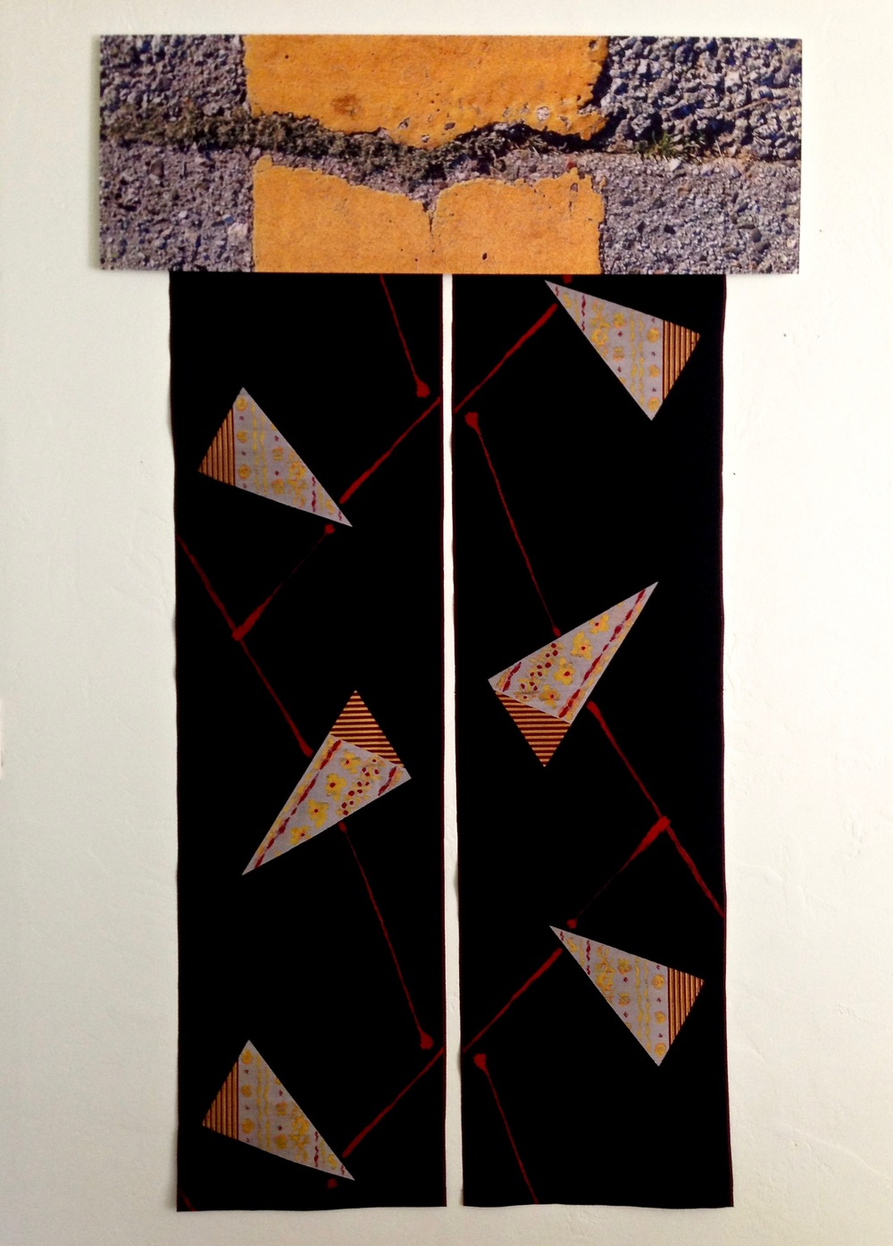 HONORABLE MENTION - Crosswalk and Floating Triangles (2016) from the Wabi Sabi Noren Series | Zora Neuhold-Huber | Photograph on wood, antique embroidered kimono fabric | 36x62"