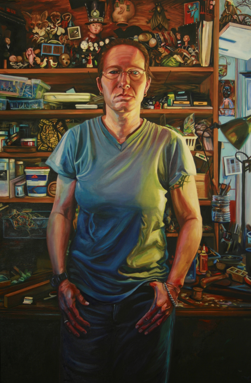 SECOND PLACE  - bugatha1 (2016) | From the series People in my Neighborhood | Marie Cameron | Oil on canvas | 24x36"