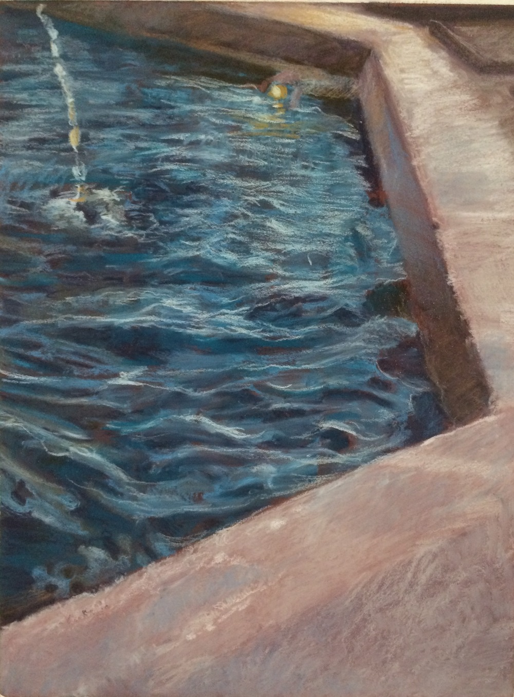 Fountain 7   | Chalk pastel on sanded paper | 9x12"