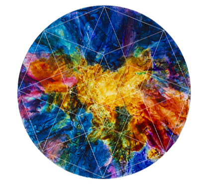"SECOND PLACE - Paradox (2013) | Myrrh | Acrylic on 1/8"" circular sheet of Plexiglas, Backlit 