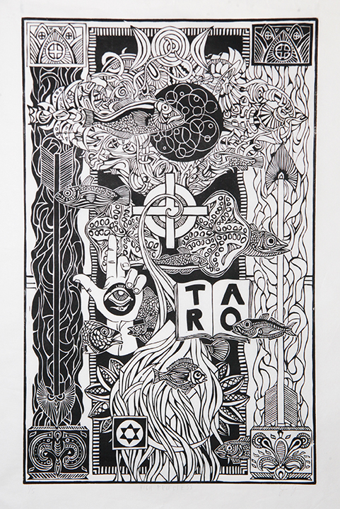 John Cadigan | The High Priestess (2015) | Woodcut Printmaking on Mulberry Paper | 15x24 | $1,500