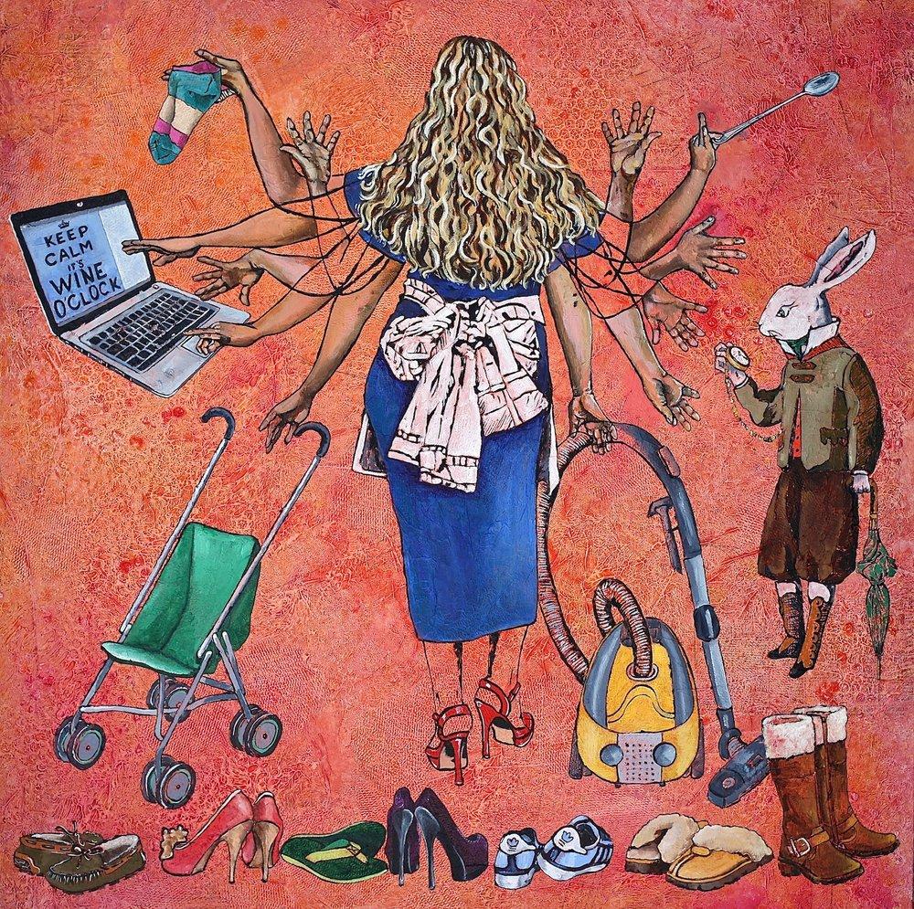 THIRD PLACE - Fleur Spolidor | Multitasking | 36x36 | Acrylic on canvas | $2,200
