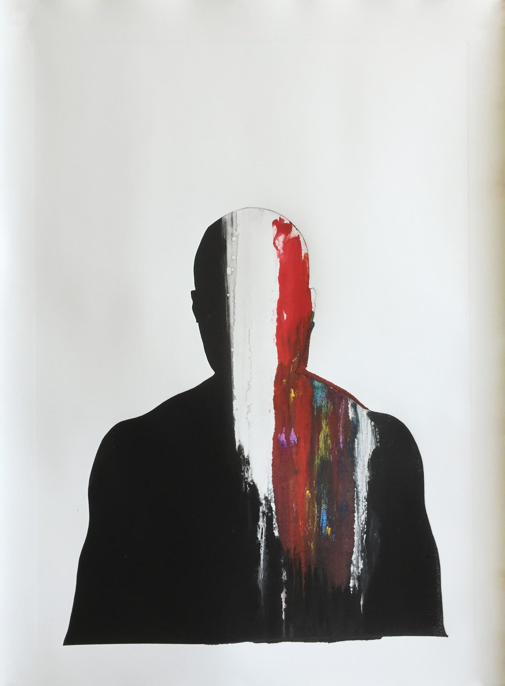 Eddie Lee | Black man | Monoprint on paper