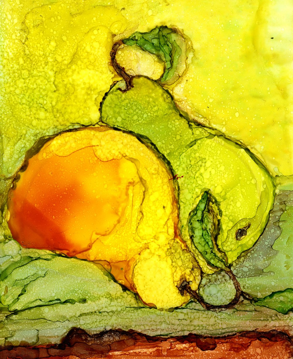 HONORABLE MENTION  - Maria Pozos | Dualing Pears | Alcohol Inks