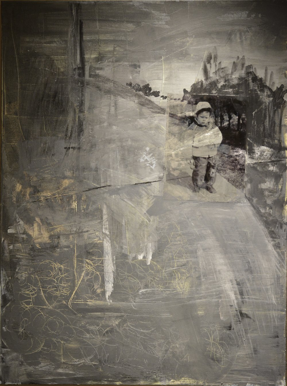 SECOND PLACE  - Lynne Lampl | Indelible Impressions | Mixed media (Acrylic, photo transparency & graphite)