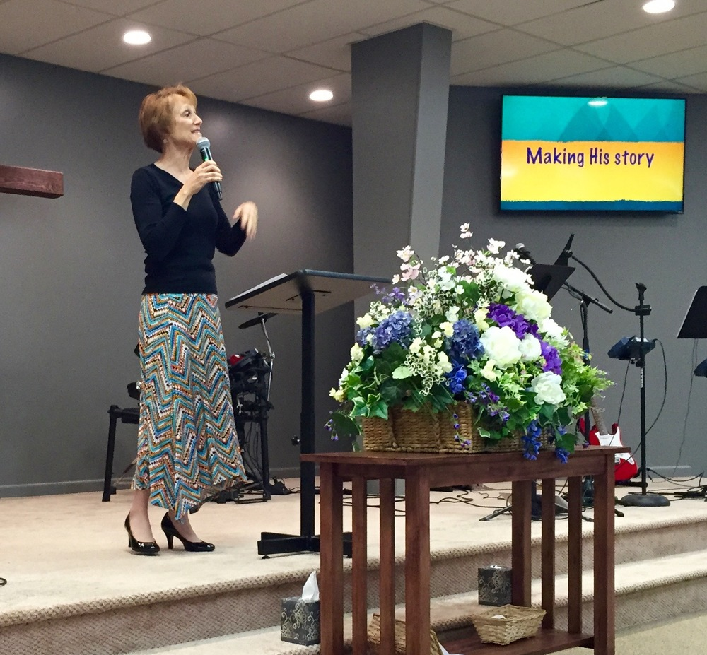 Margie Stone sharing the challenge with us to make HIS story in spite of our weaknesses.