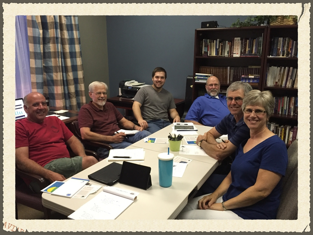 River Oaks Leadership Team: Steve Davis, Pastor Jim Ranck, Evan Strite, Webb Hypes, Jim Eby, Rita Eby