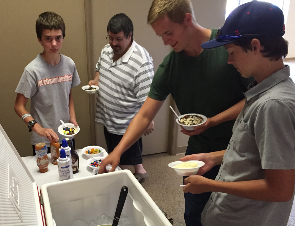 Ice Cream Sundaes with HOME-MADE Ice Cream: THANK YOU, Pastor Jim Ranck!
