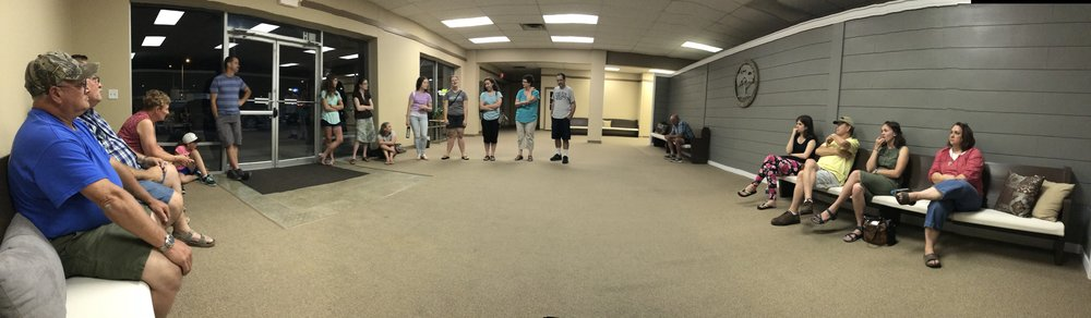 Debrief time after a night of ministry.