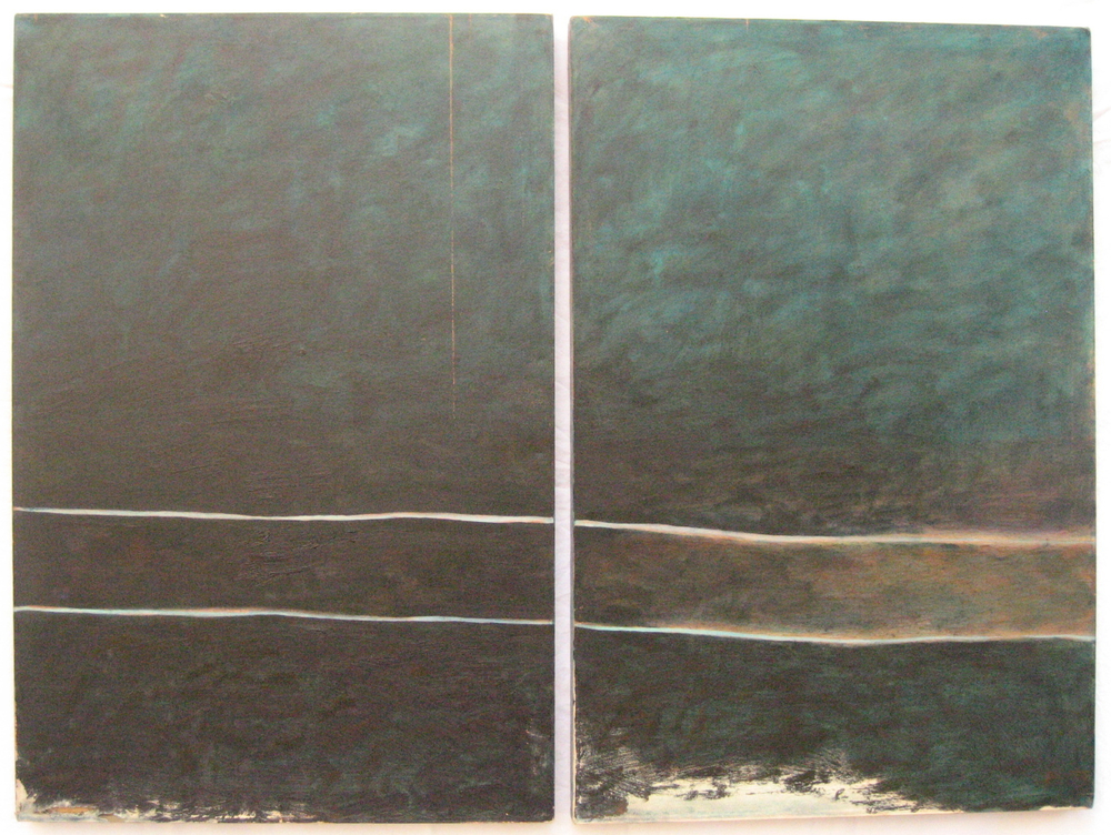 Diptych Two  oil on canvas (2) 24in x 36in