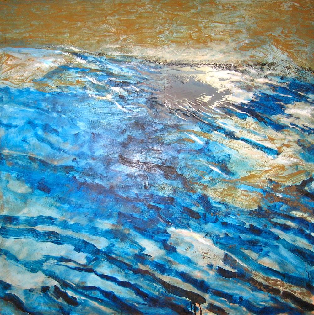 Metamorphosis of the Ocean  mixed media on wood panel 48in x 48in