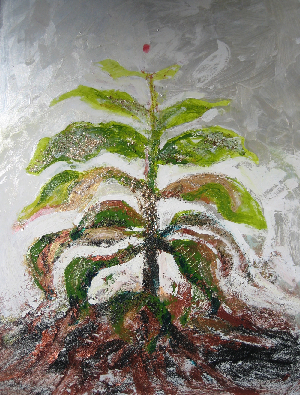 Transformation of Archetypal Plant - night blossom  acrylic on wood panel 18in x 24in