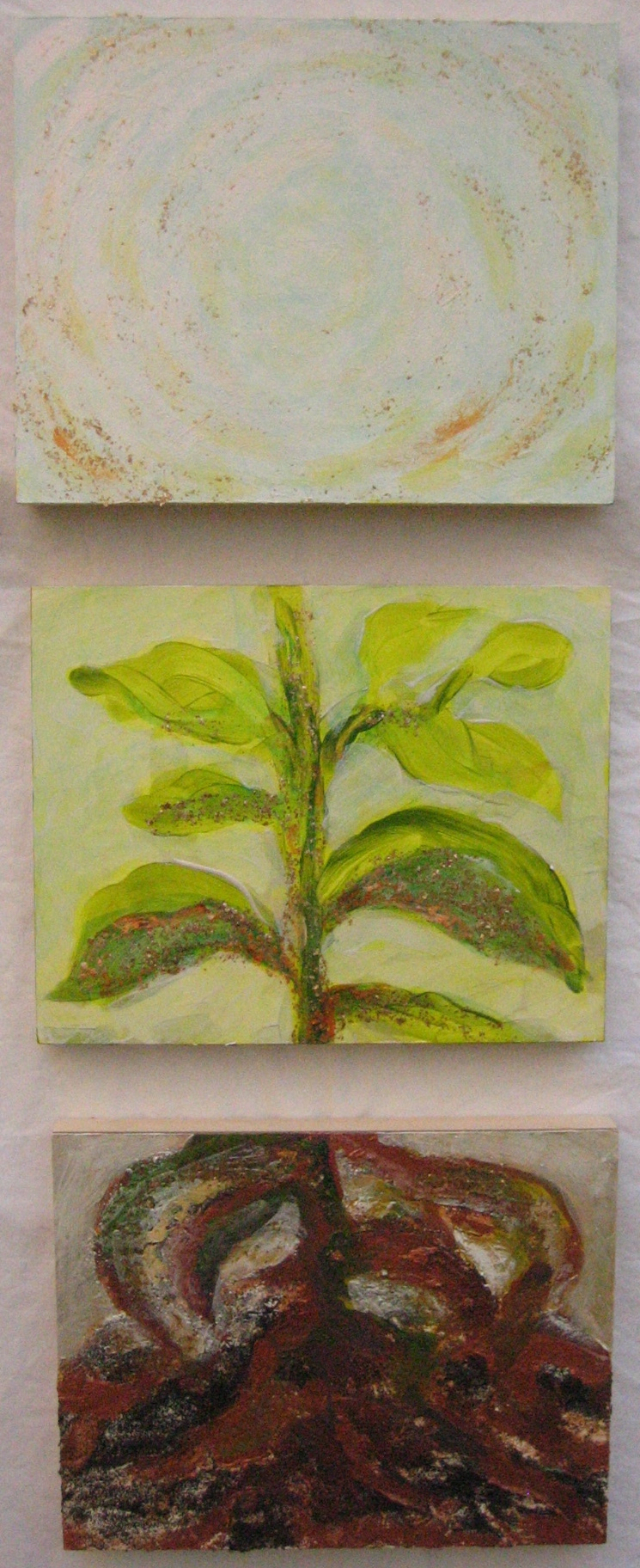Transformation of Archetypal Plant triptych ( crown - stem - roots)  acrylic on wood panel (3) 10in x 12in
