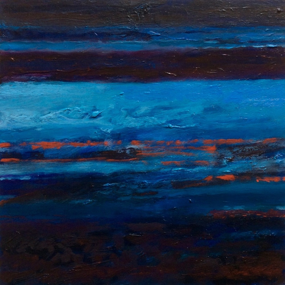 "Transcending Blue # III  oil on wooden board 12""x 12""  sold"