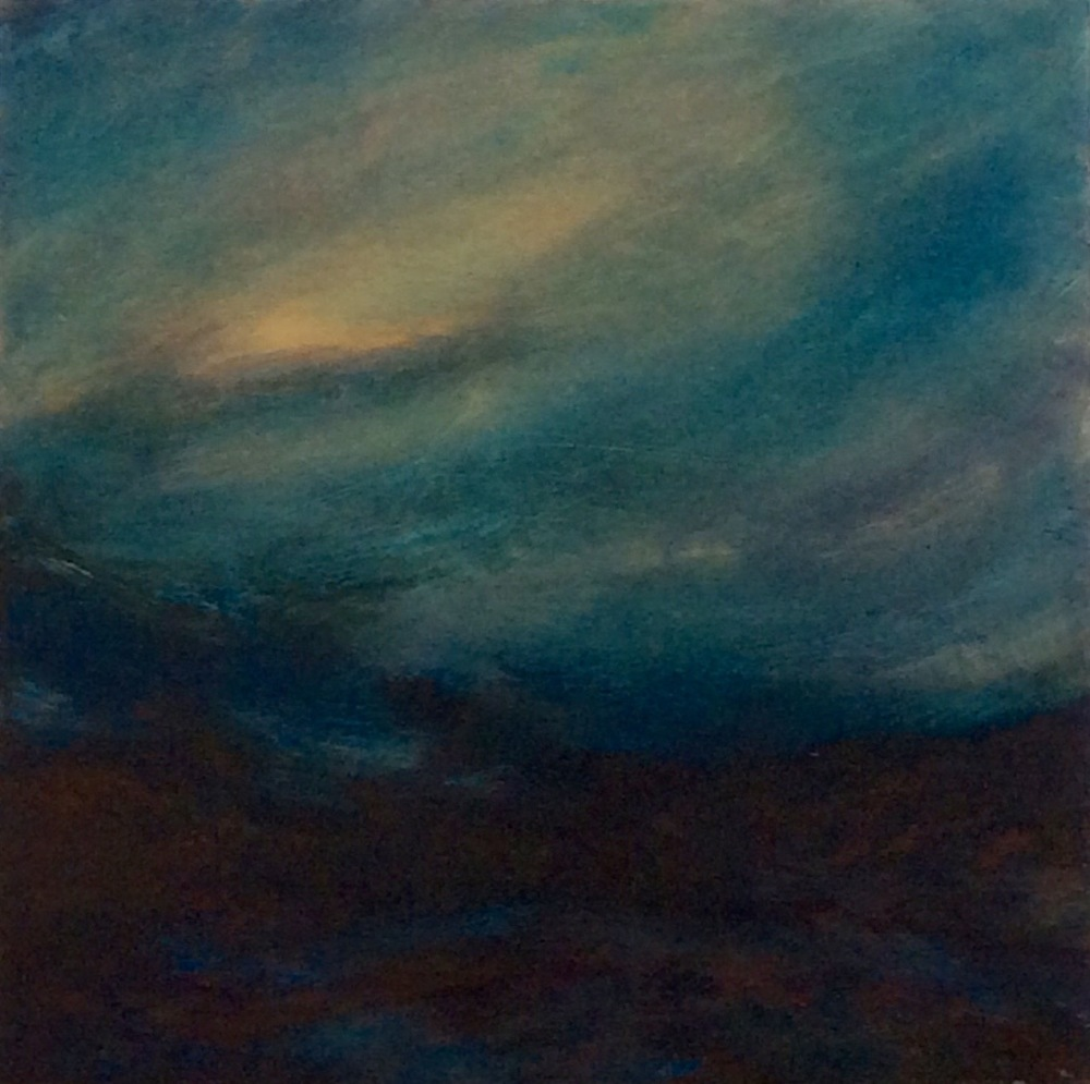 "Transcending Blue # V  oil on wooden board 12""x 12""  sold"