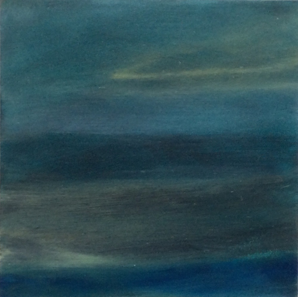 "Transcending Blue # XV  oil on wooden board 6""x 6""  sold"