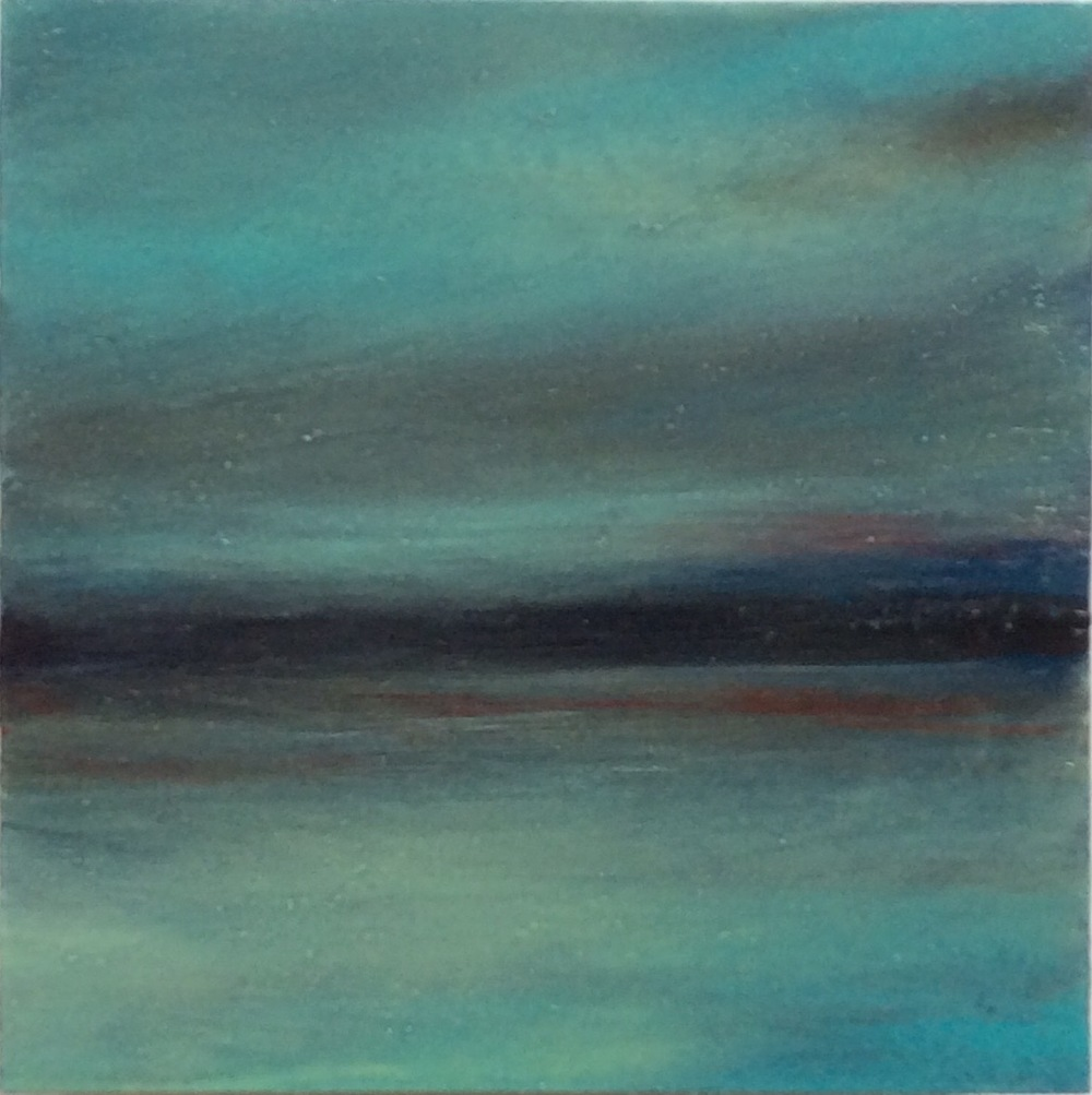 "Transcending Blue # XVI  oil on wooden board 5""x 5"""