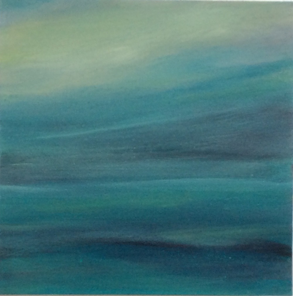 "Transcending Blue # XVIII  oil on wooden board 6""x 6""  sold"