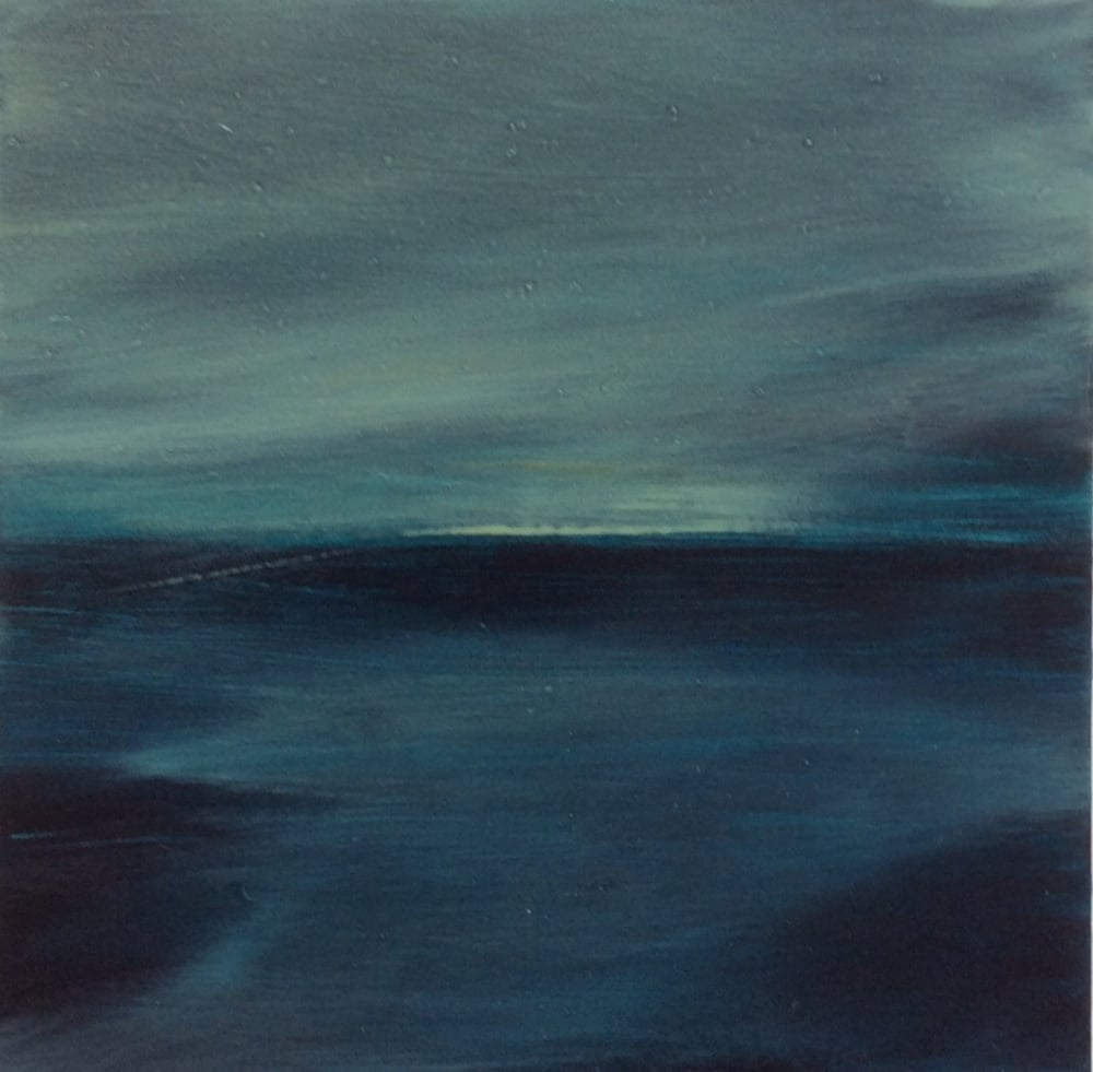 "Transcending Blue # XII  oil on wooden board 8""x 8""  sold"