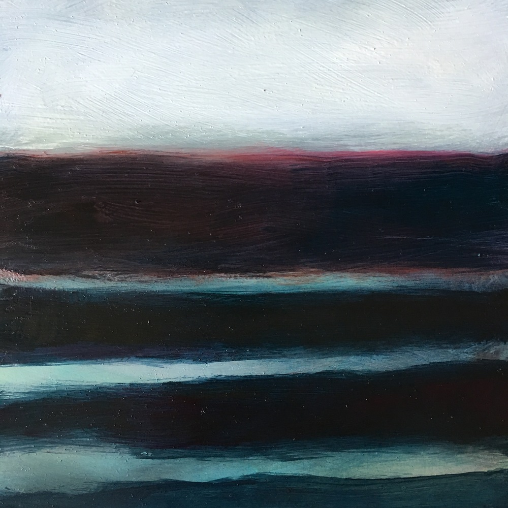 Transcending Red # IX  oil on wood panel 8in x 8in