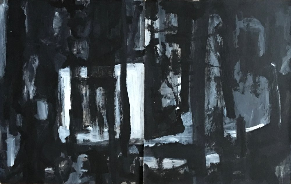 "In- Between VIII  guache on paper diptych 2 X 28""x 22"""