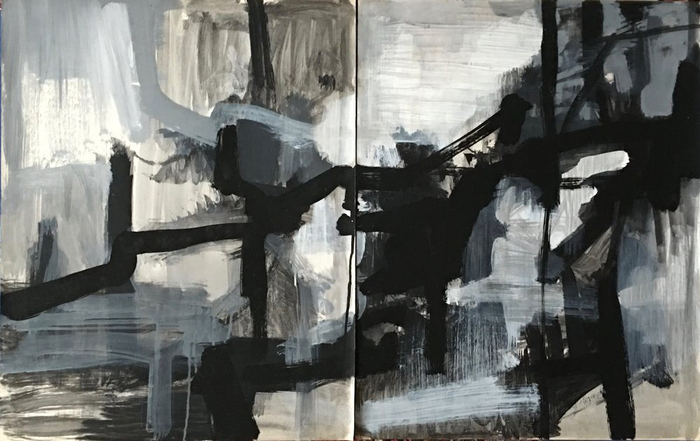 "In- Between IX  guache on paper diptych 2 X 28""x 22"""