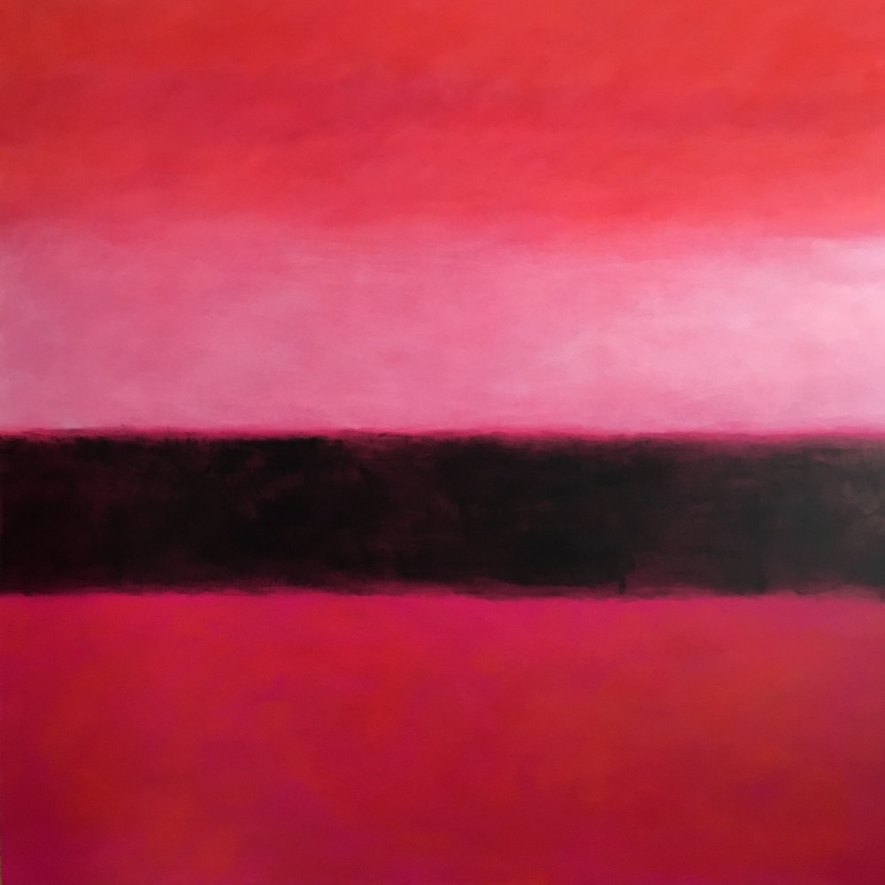 "Red Nocturne  oil on canvas 48""x 48"" ( 122 x 122 cm) 2017"