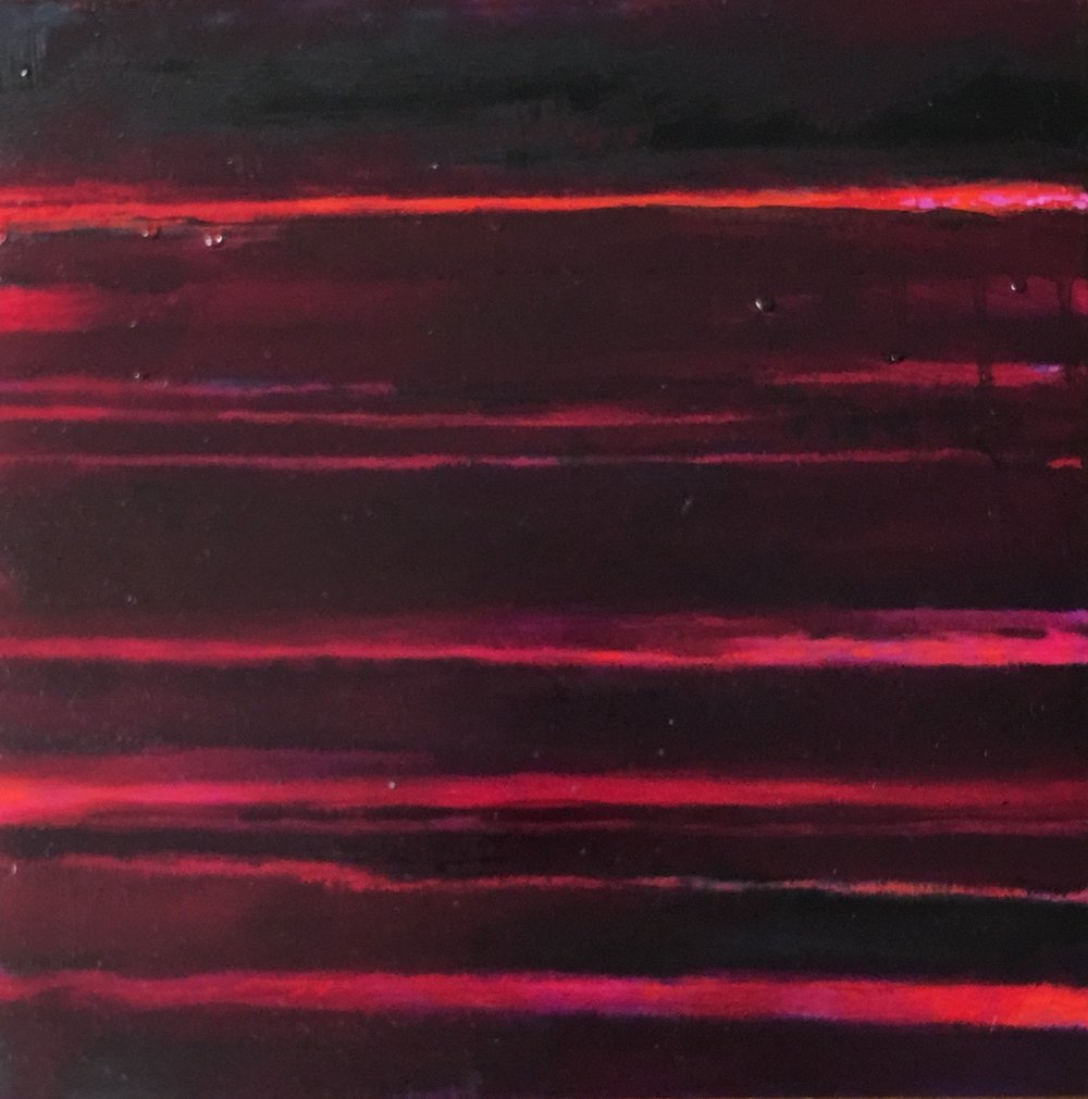 "Red Nocturne XVII  oil on wood panel 12""x 12"" ( 30.5 x30.5 cm) 2018"