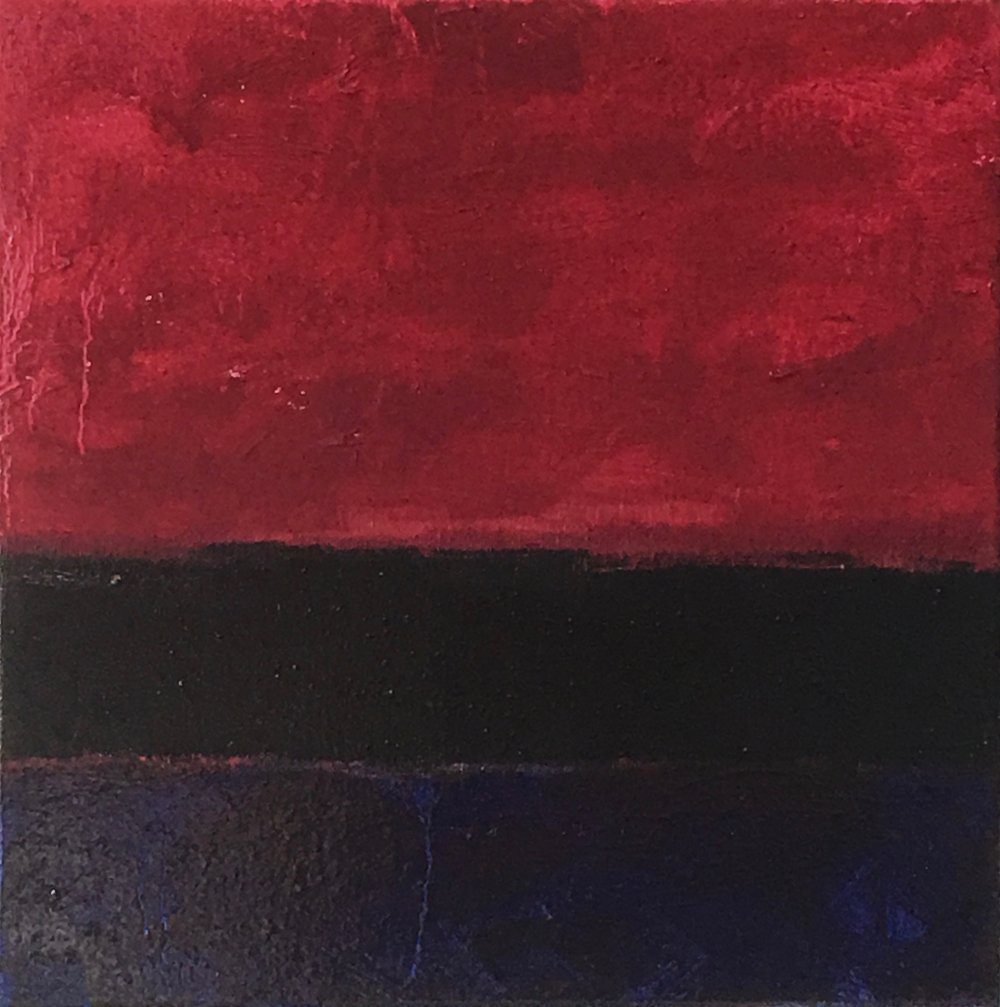 """Red Nocturne  XXI oil on canvas 12"""" x 12"""" ( 30.5 x 30.5 cm ) 2018"""