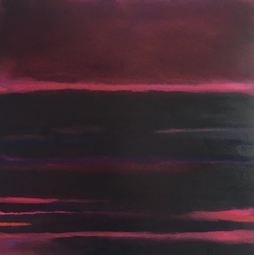"Red Nocturne XVIII  oil on wood panel 12""x 12"" (30.5 x30.5 cm) 2018"