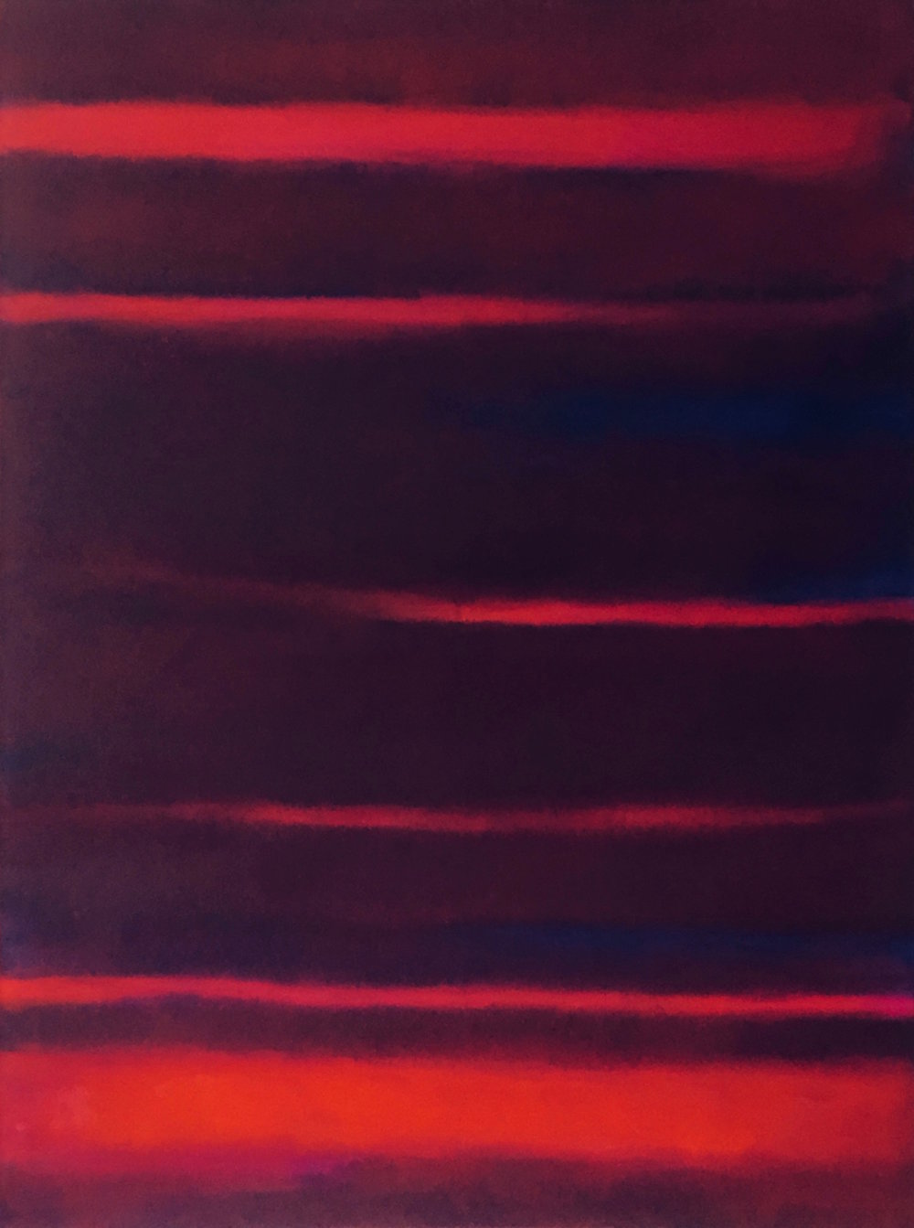 "Red Nocturne XI  oil on canvas 48"" x 36"" ( 122 x 91.5 cm ) 2018"